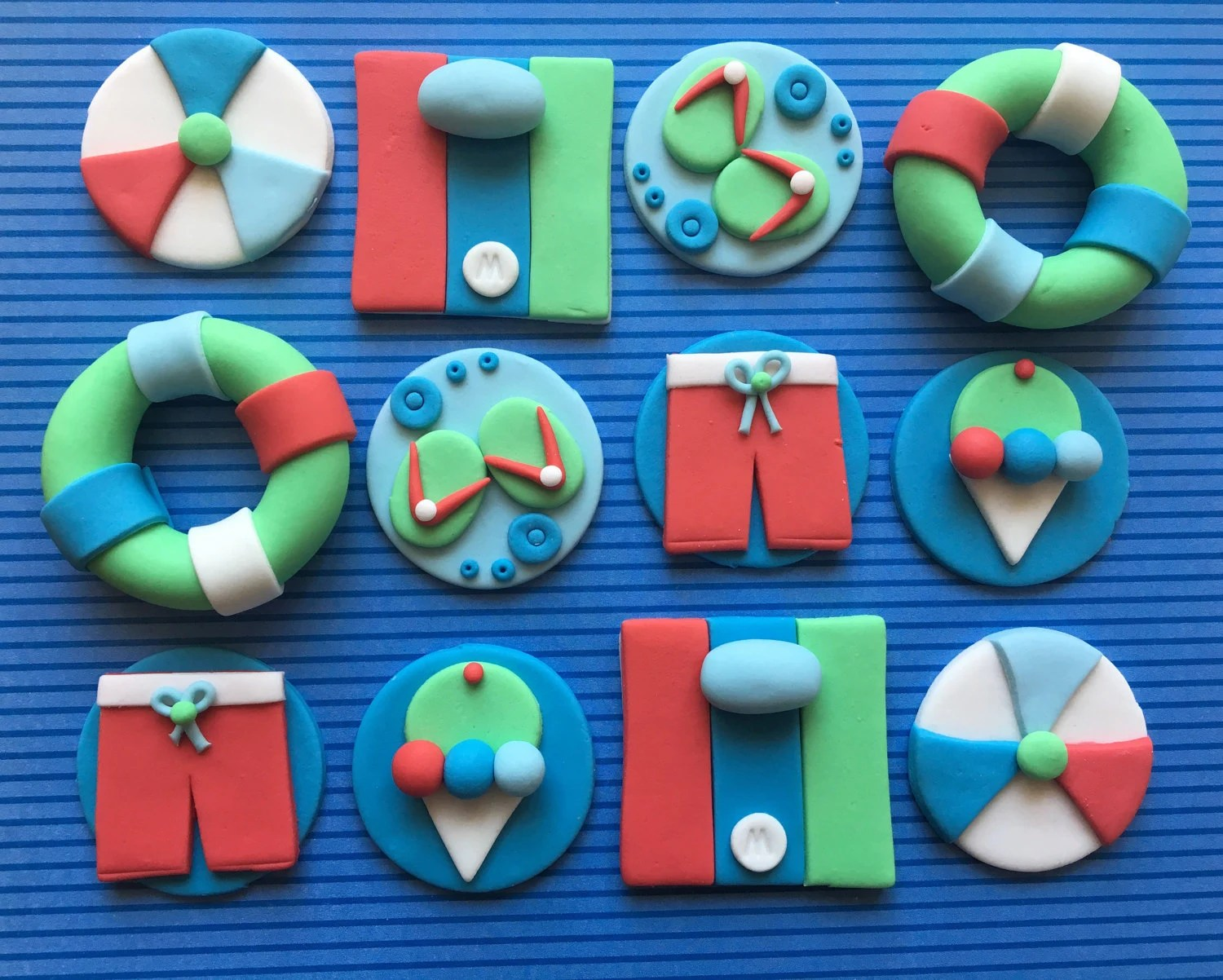 12 Edible Fondant Pool Party Cupcake Toppers Beach Cake Etsy