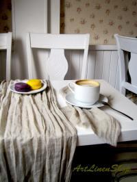 Grey gauze runner Cheesecloth runner Linen table runner ...