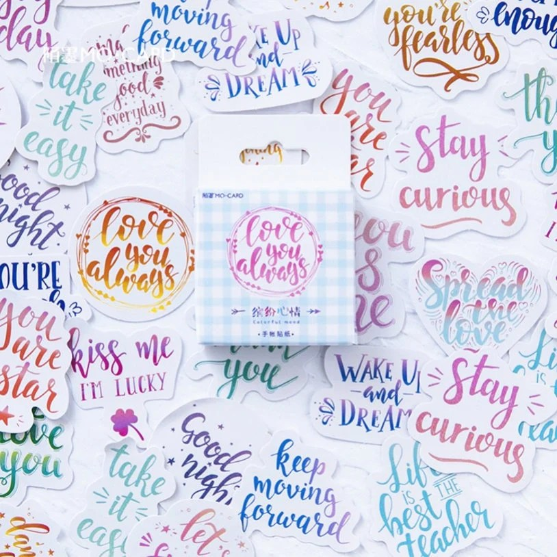 46pcs calligraphy stickers words