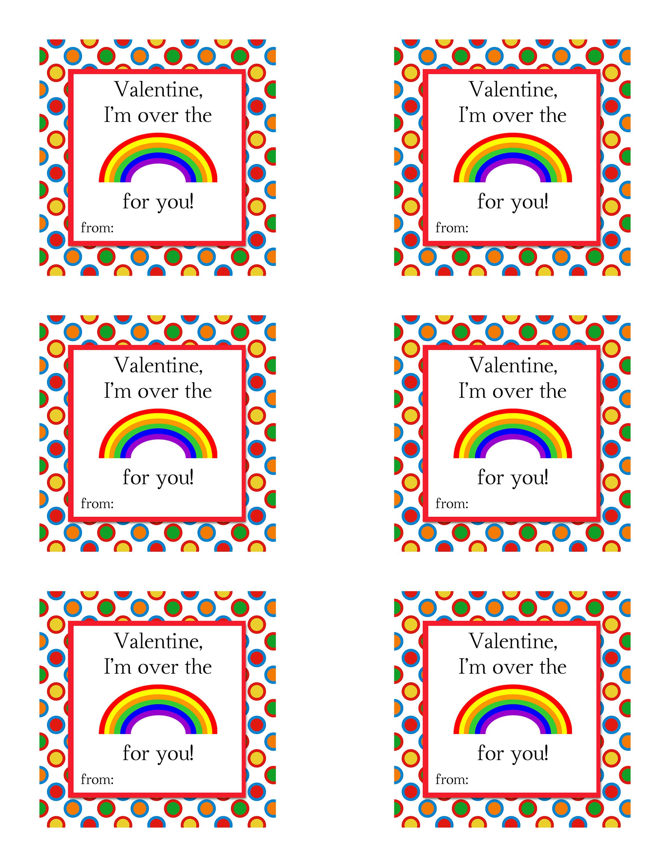 Printable Valentines Printable Skittles Valentine Rainbow