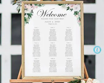 Watercolor floral wedding seating chart template poster elegant green and white editable calligraphy also large etsy rh