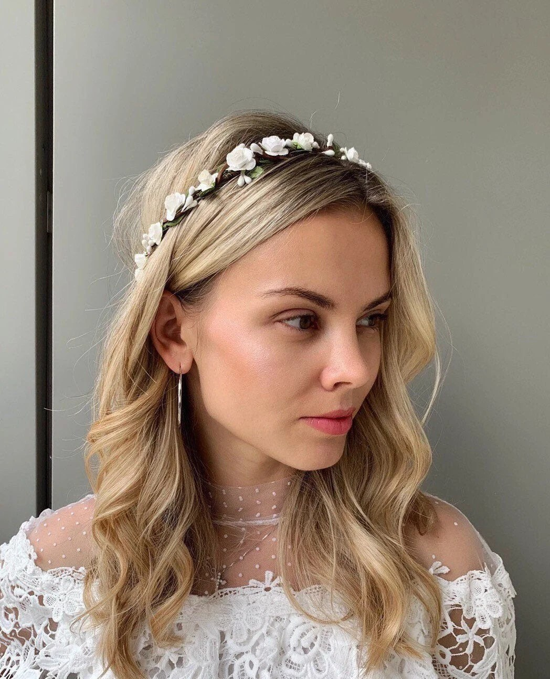 bridal floral crown wedding