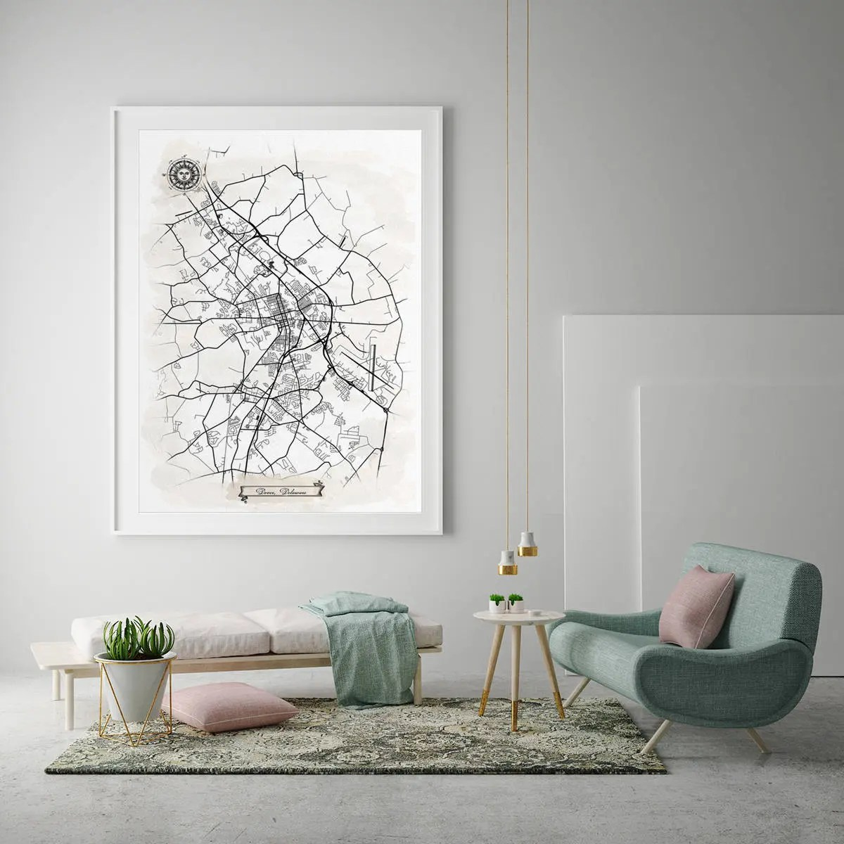 dover delaware watercolor map
