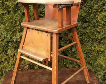 baby doll high chairs bedroom chair antique etsy vintage wood 37 75 tall