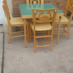 Folding Card Table And Chairs Brown Barber Etsy Mid Century Modern Wood Nordic 4