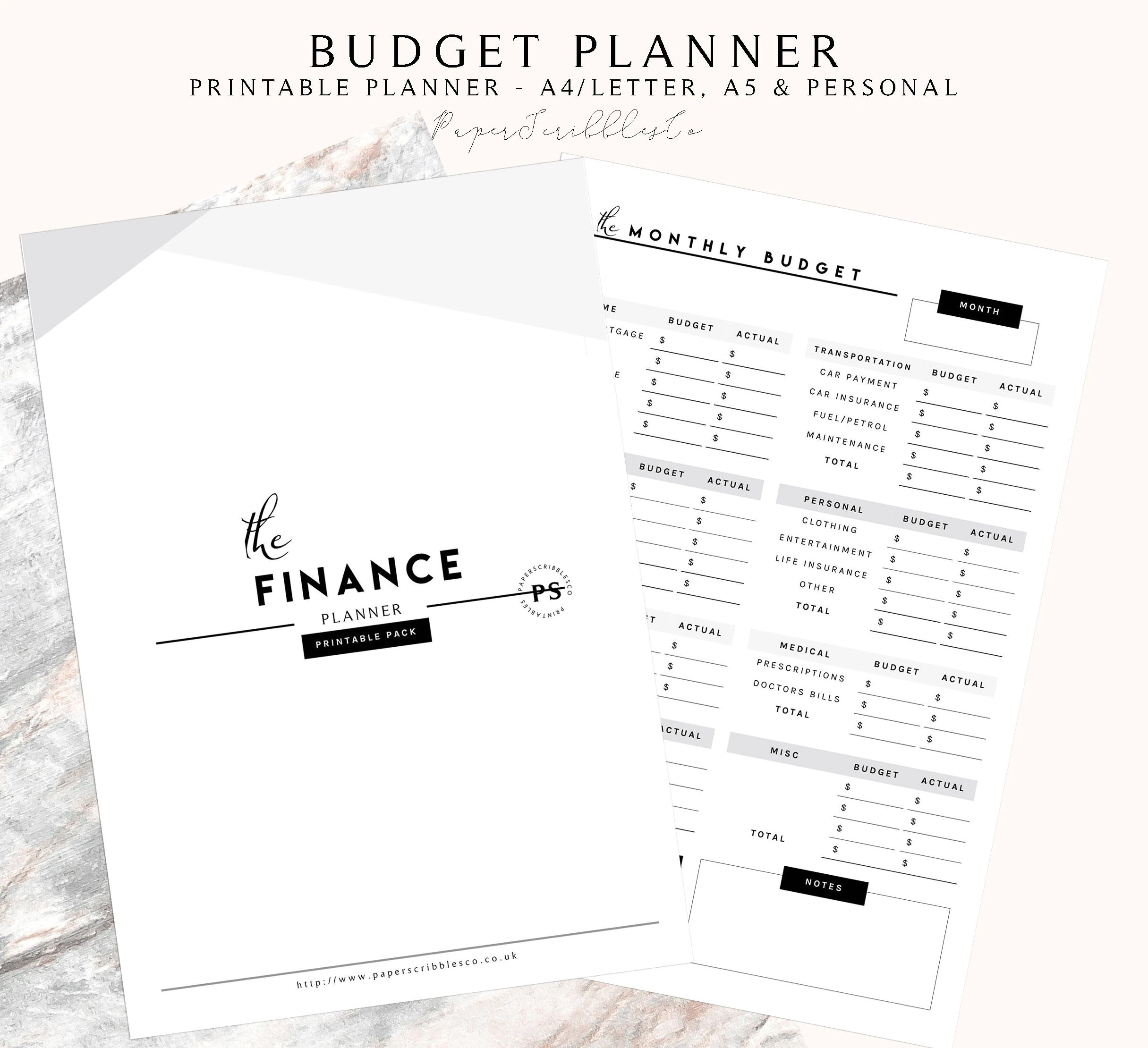 Printable Finance Planner Budget Planner Financial Planner