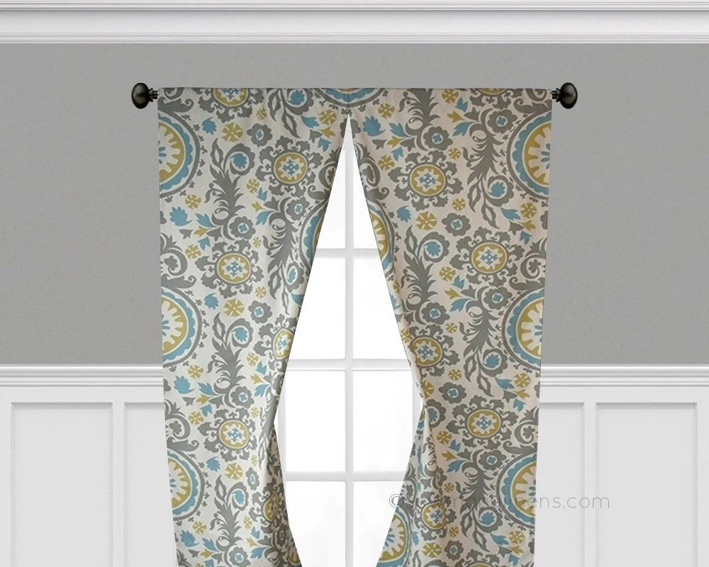 gray and yellow curtains for living room best blue paint color window treatments floral curtain etsy image 0