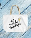 Happy Tote Bag What A Wonderful Day To Have Champagne Etsy