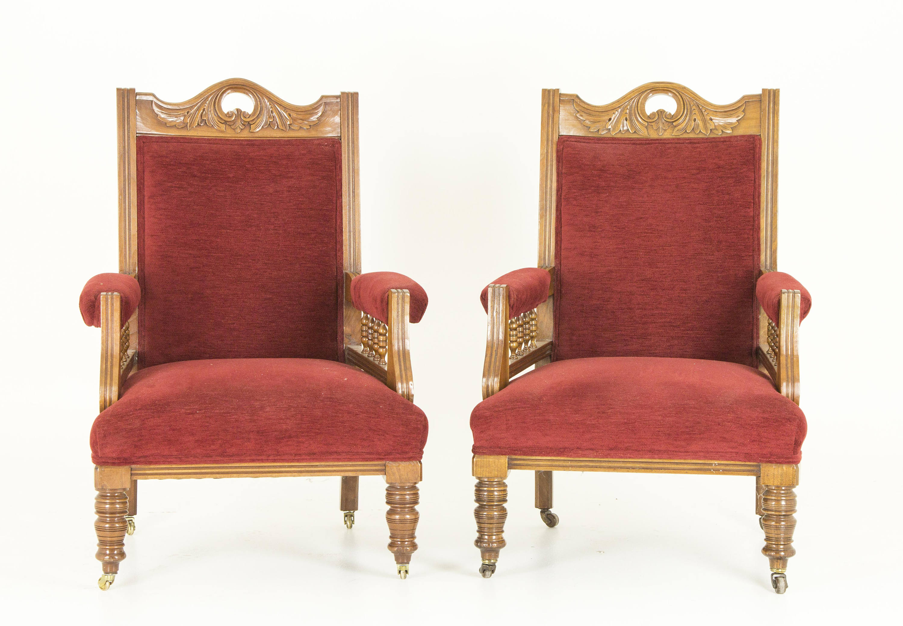 Antique Parlor Chairs Antique Chairs Parlor Chairs Upholstered Arm Chairs Walnut Victorian Scotland 1890 B700 Reduced