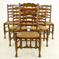 Antique Ladder Back Chairs With Rush Seats For Sex 51 Seat Dining Etsy Image 0