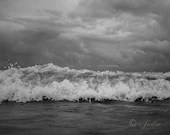 Fierce Ocean || Black and White Photography {Jersey Shore BW Monochrome Beach Wildwood Crest Good morning, sunrise, wave} || Fine Art
