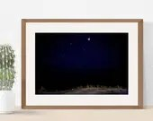 Minimalist Dunes, Mars + Saturn in Scorpio, summer night, Sky full of stars over Wildwood Crest, NJ, 11x14 | Lucky Star Dreams