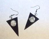 Moon Shine Phase Drop Earrings, Celestially Inspired Clear Quartz Sterling Silver full moon quartz earrings by Lucky Star Dreams
