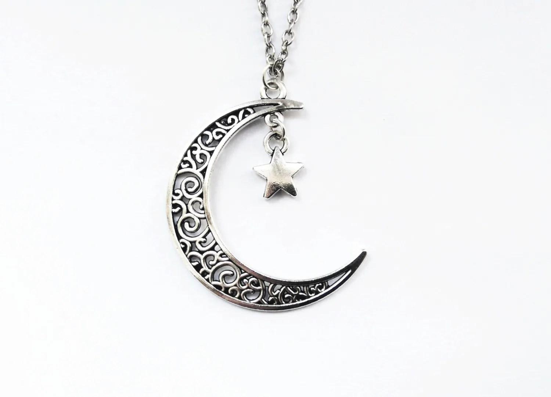 Collier en argent croissant de lune Collier lune et