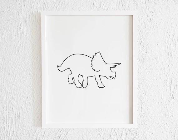 Minimalist Triceratops Doodle Print Modern Printable Dinosaur Etsy