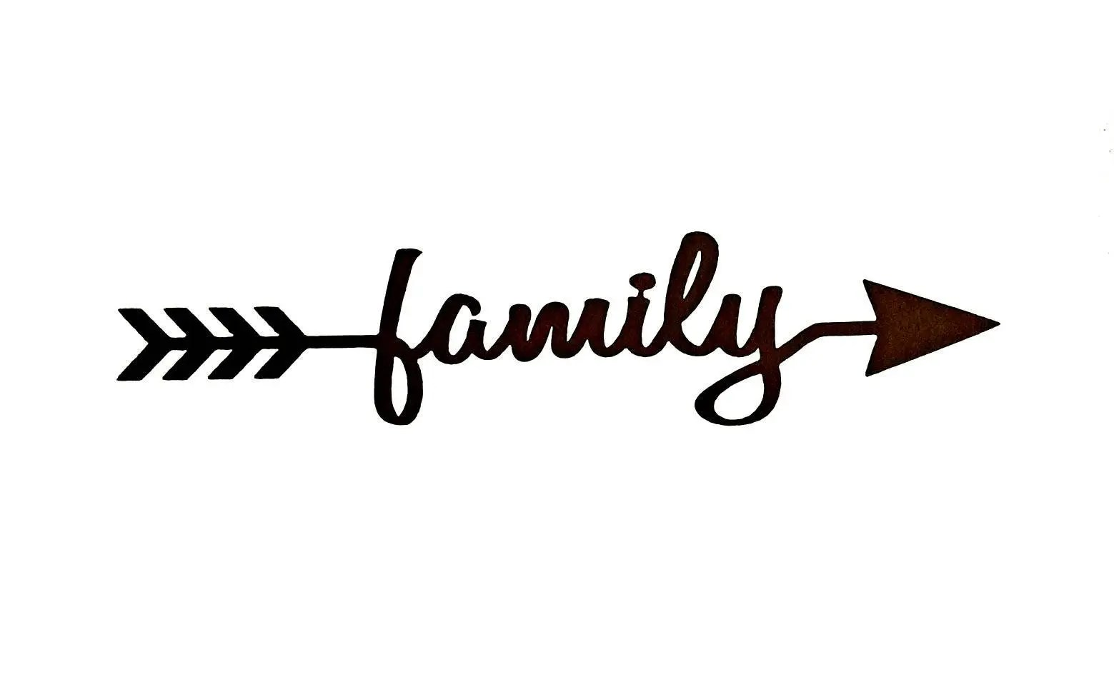 Large Metal Family Sign Metal Wall Art Cursive Words for the
