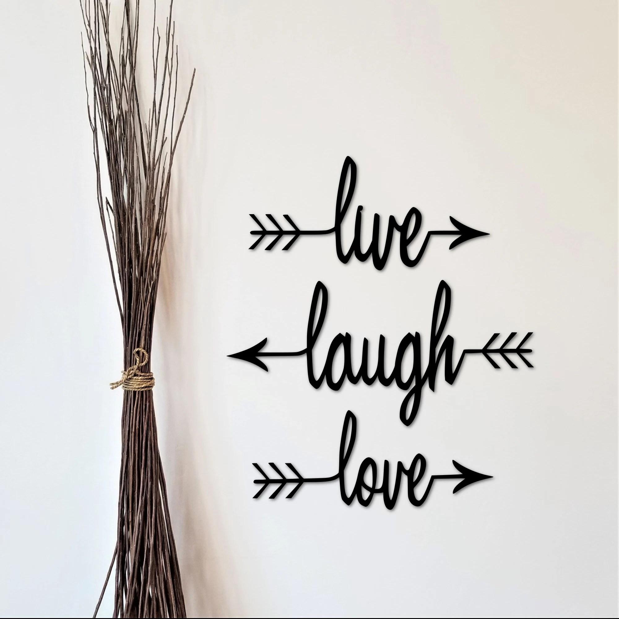 live laugh love sign split arrows metal wall art set of 3 arrows wall decor arrow decor metal wall words cursive wall words word arrows