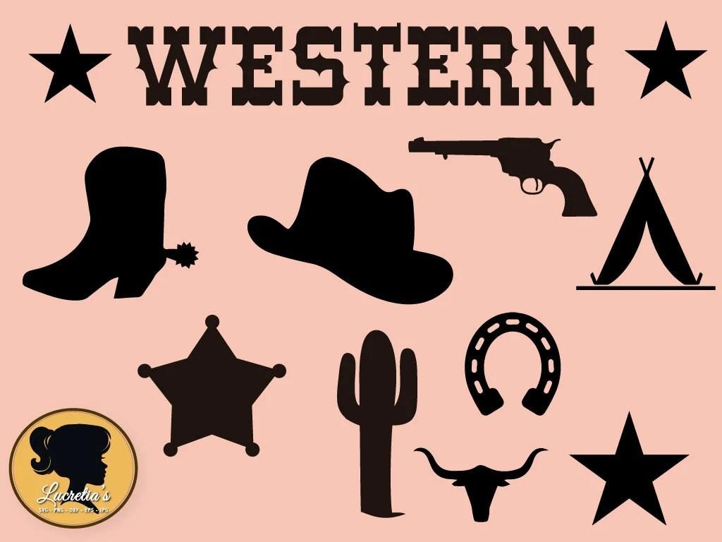 western silhouette cowboy svg