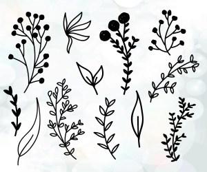 Branch Svg Files Plants Branch Vector Flower Decoration Etsy