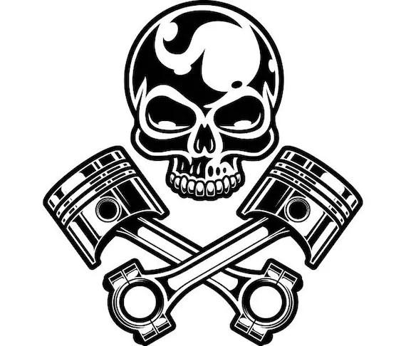 Motorcycle Logo 11 Chrome Skull Pistons Auto Mechanic Bike