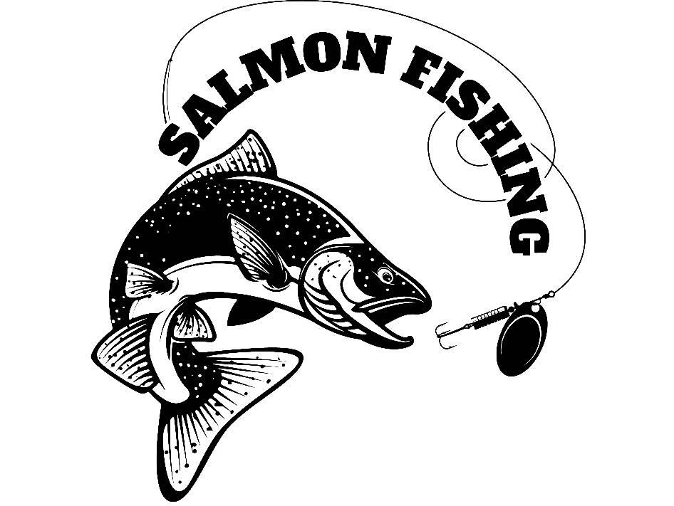 Salmon Fishing 1 Logo Angling Fish Hook Fresh Water