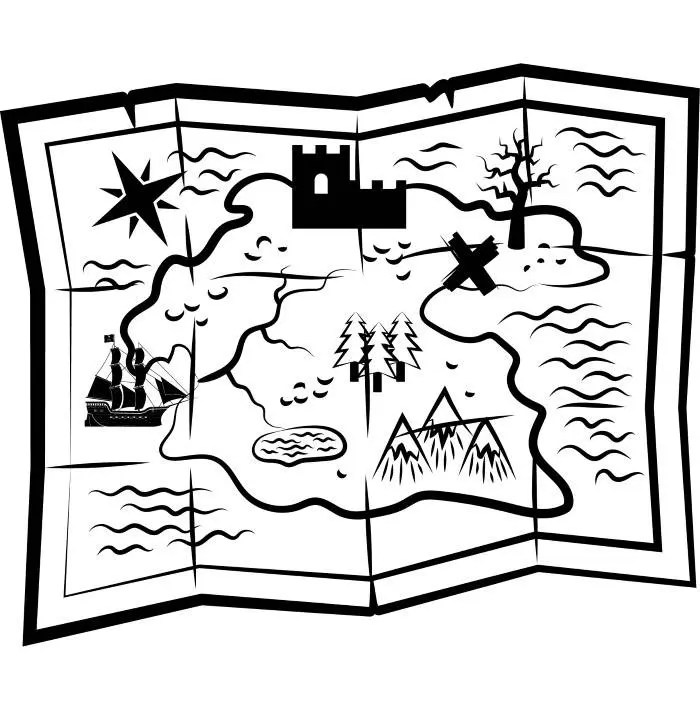 Treasure Map Pirate Chest Vintage Gold .SVG .EPS .PNG