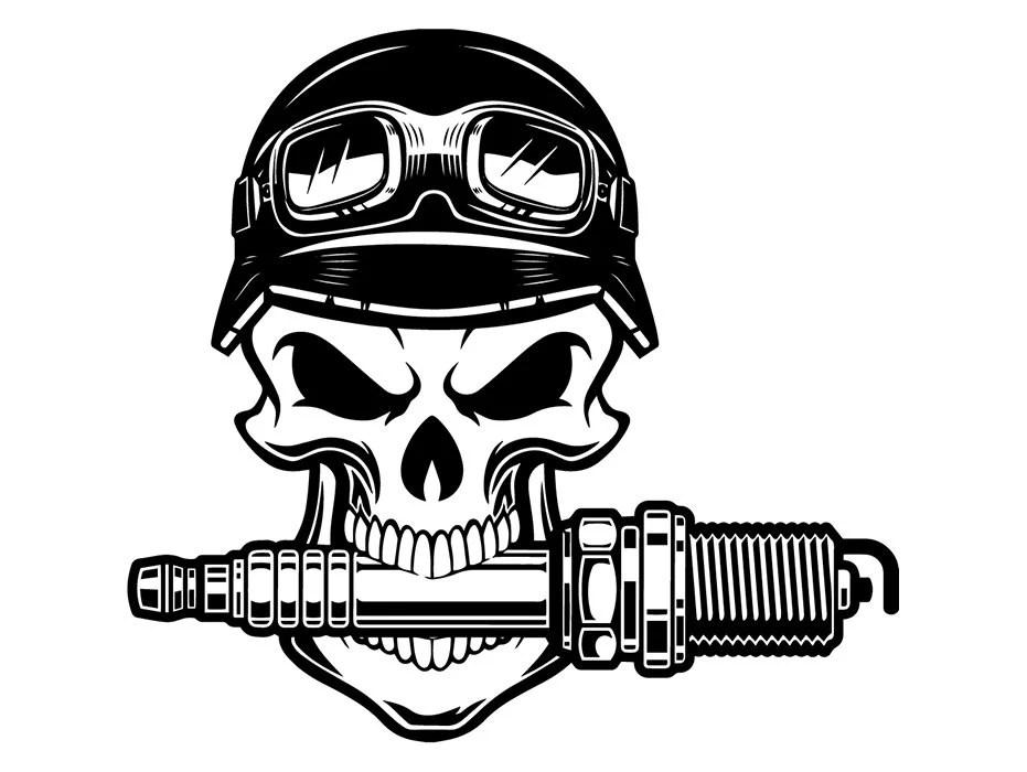 Mechanic Logo 103 Skull Spark Plug Helmet Engine Auto Car