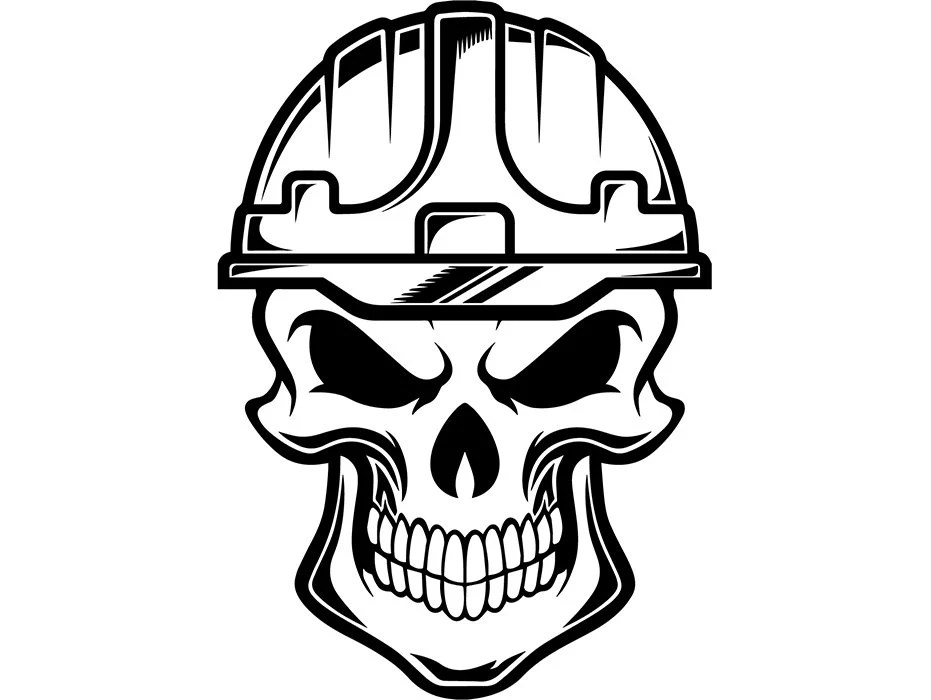 Construction Skull 2 Helmet Hard Hat Tool Toolbox Handyman