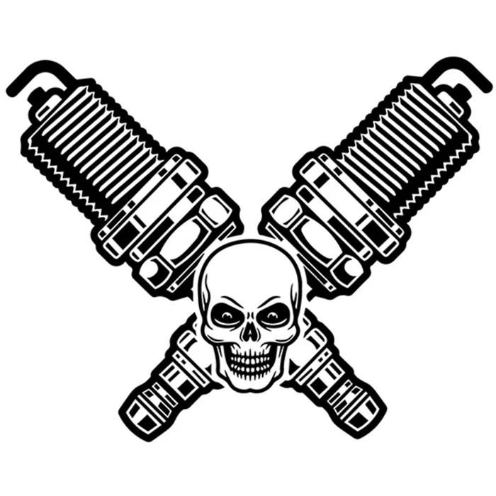 Mechanic Logo 72 Skull Spark Plugs Crossed Motor Engine