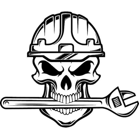 Construction Logo 62 Skull Plumber Plumbing Wrench Toolbox