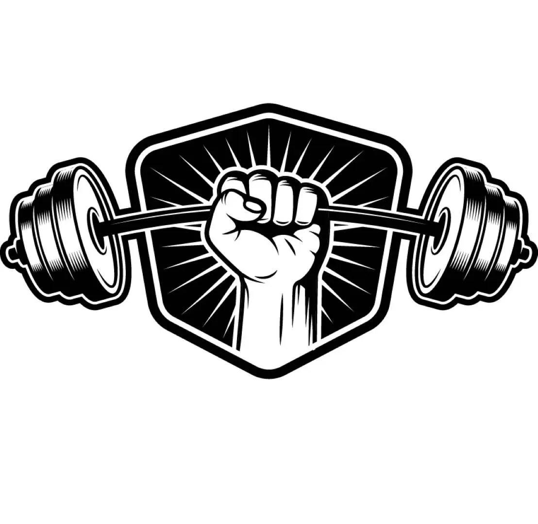 Bodybuilding Logo 5 Shield Barbell Bar Weightlifting