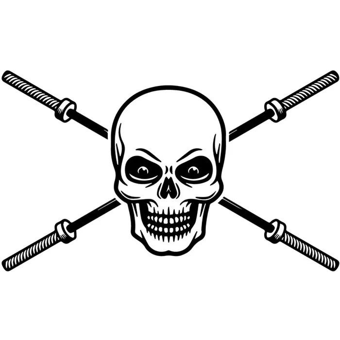 Bodybuilding Logo 58 Skull Barbell Bar Weightlifting