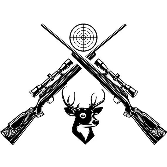Hunting Logo 67 Rifles Crossed Duck Deer Sport Hunt Hunter
