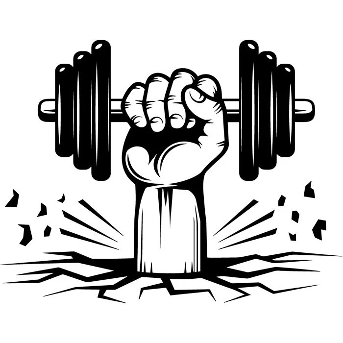 Bodybuilding Logo 82 Hand Holding Dumbbell Weight Plate