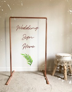 small copper wedding welcome sign seating chart frame modern holder easel backdrop also etsy rh