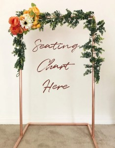 Small copper wedding seating chart frame welcome sign modern holder backdrop also etsy rh