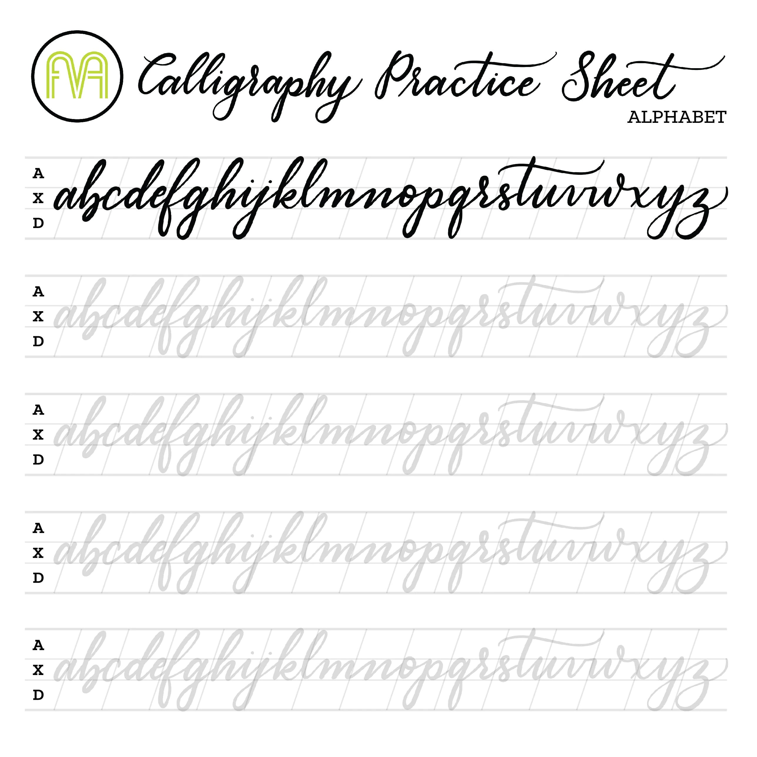 Calligraphy Practice Sheets Alphabet Lettering Digital