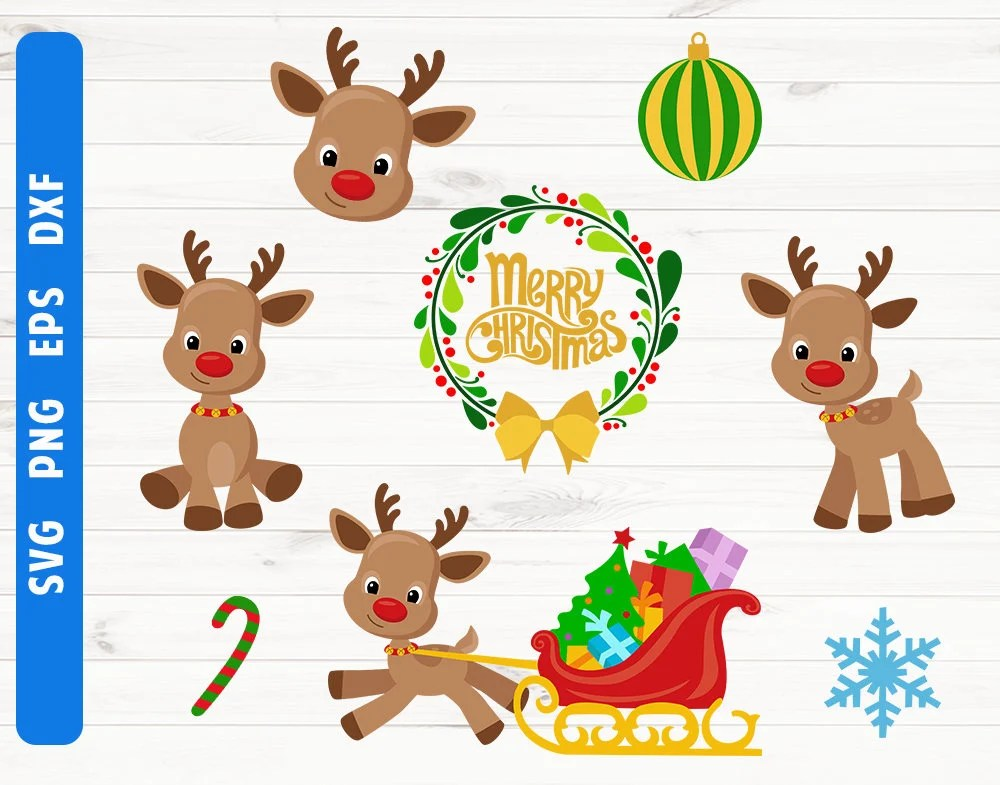 Christmas Reindeer SVG Fawn Svg Christmas Wreath Digital