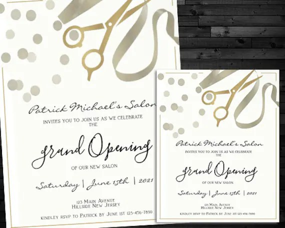 grand opening invitation and matching flyer printable invite instant download editable digital file 3 psd files 2 jpeg blank template