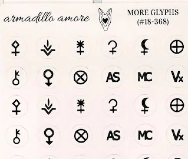 Assorted Astrology Glyph Stickers  Fancy Matte Or Glossy Planner Stickers