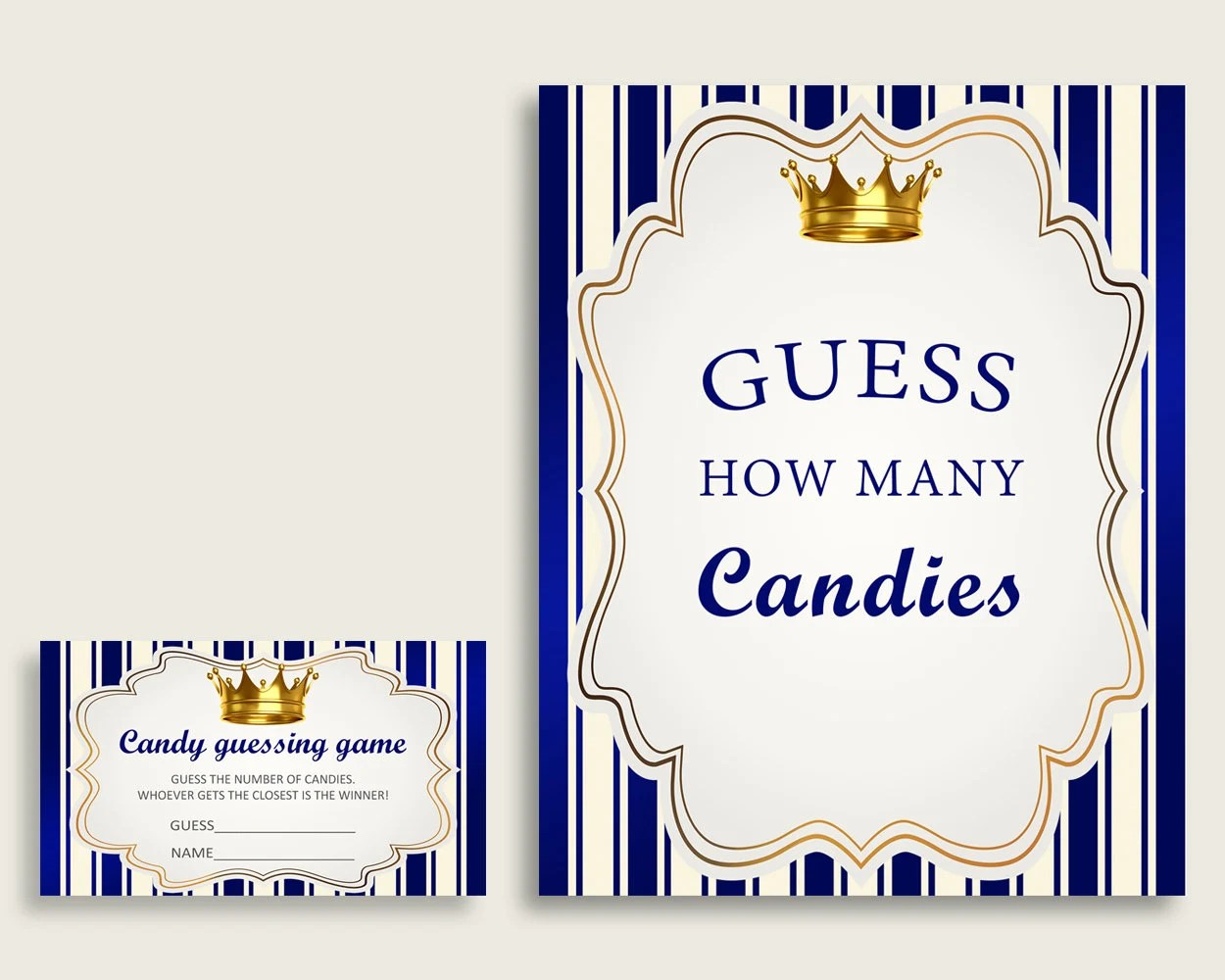 Blue Gold Candy Guessing Game Royal Prince Baby Shower Boy