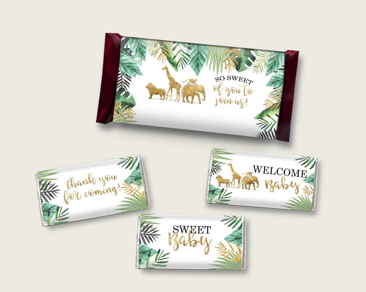 Jungle Hershey Candy Bar Wrapper Printable Gold Green