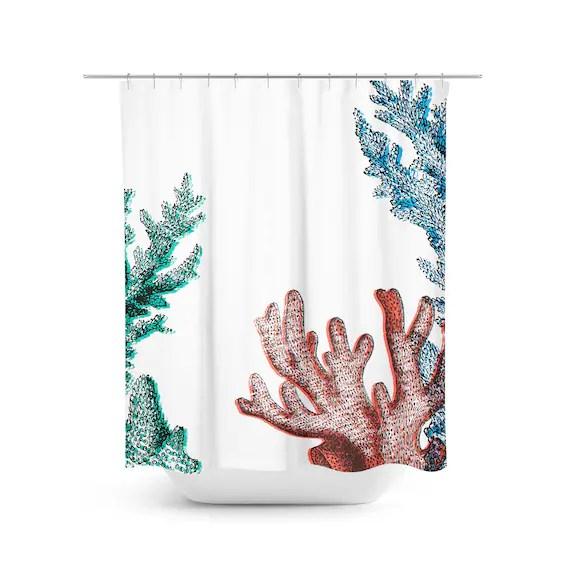 coral reef shower curtain ocean shower curtain beach bath decor nautical bath marine bath accessories