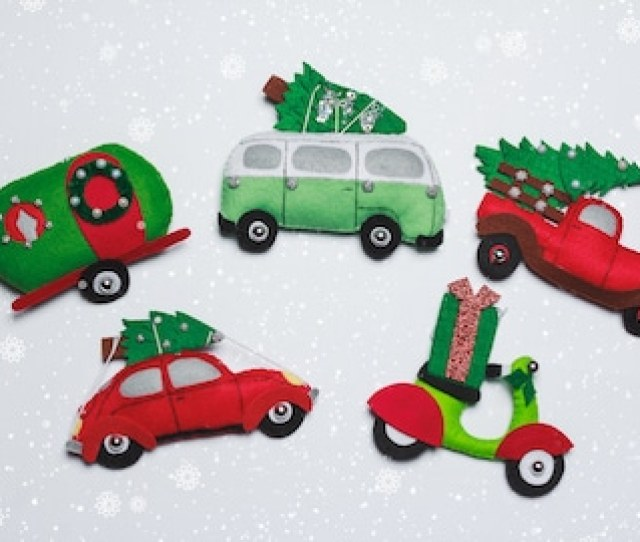 Christmas Truck Ornament Personalized Babys First Christmas Felt Red Truck With Tree Ornaments Set Trailer Camping Gifts Tree Decor Bus