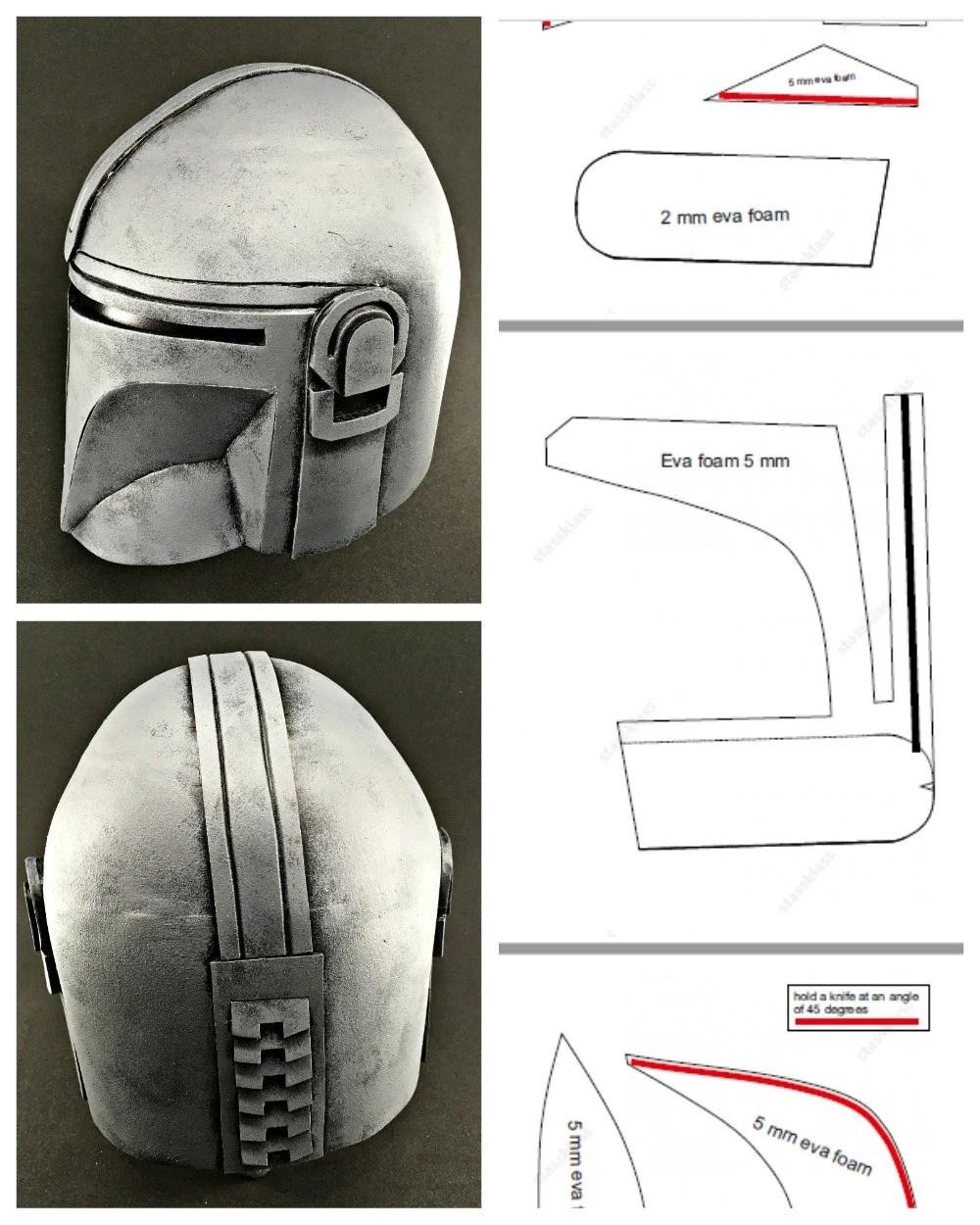 Mandalorian Helmet Pattern : mandalorian, helmet, pattern, Mandalorian, Inspired, Helmet, Template, Cosplay