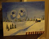 Winter watching the farm on canvas