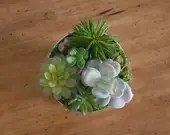 Artificial Succulent Arrangement in silver bucket