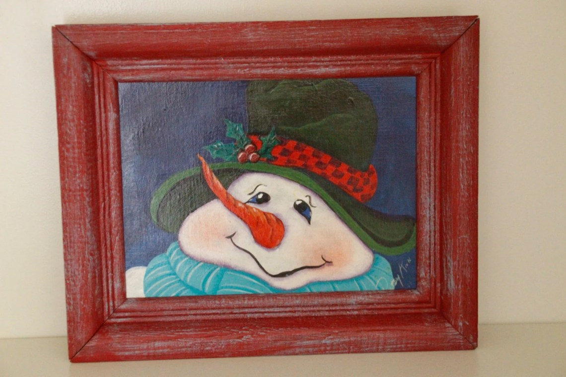 Hand panted snowman and f...