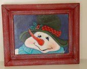 Hand panted snowman and frame