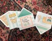 3 blank handmade greeting cards
